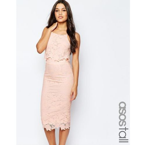 ASOS TALL Lace Floral Scallop Midi Dress - Pink