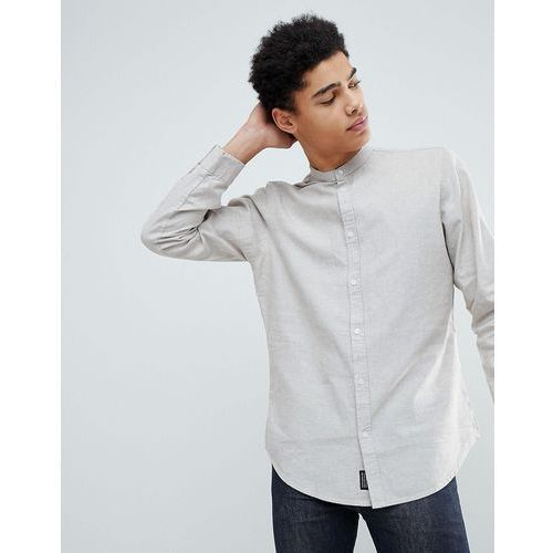 Threadbare cotton linen grandad long sleeve shirt - stone