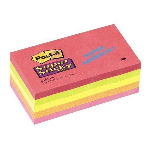 POST-IT Bloczek SUPER STICKY 655S-N, 76 x 127mm, neonowy, 5 sztuk po 90 kart