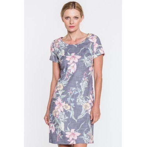 Szara sukienka w kwiaty - Sobora, 1 rozmiar