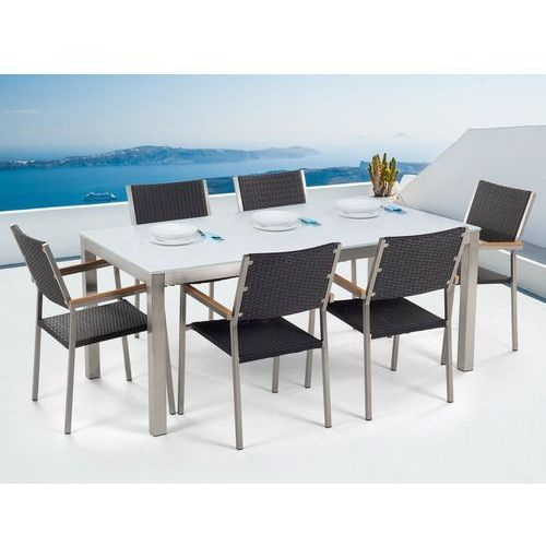 Zestaw ogrodowy szklany biały i 6 krzeseł rattanowych czarnych GROSSETO (4260580928187)