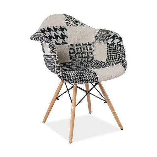 Krzesło drewniane denis b patchwork - styl skandynawski - złap rabat: kod40 marki Signal