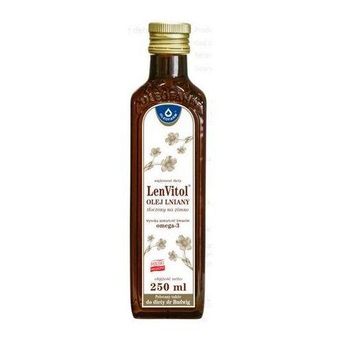 Lenvitol olej lniany budwigowy tłoczony na zimno płyn - 250 ml (butelka) marki Oleofarm marek chrzanowski, leszek stanecki sp.z o.o.