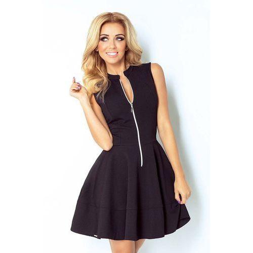 Czarna Sukienka Rozkloszowana z Suwakiem bez Rękawów, C123-3bl