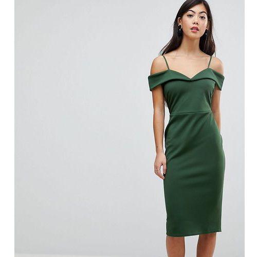 scuba strappy bardot pencil midi dress - green, Asos petite