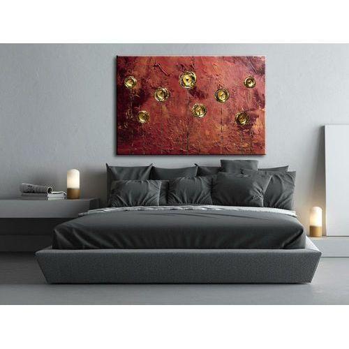 Obrazy na ścianę abstrakcyjne miedź i złote makówki