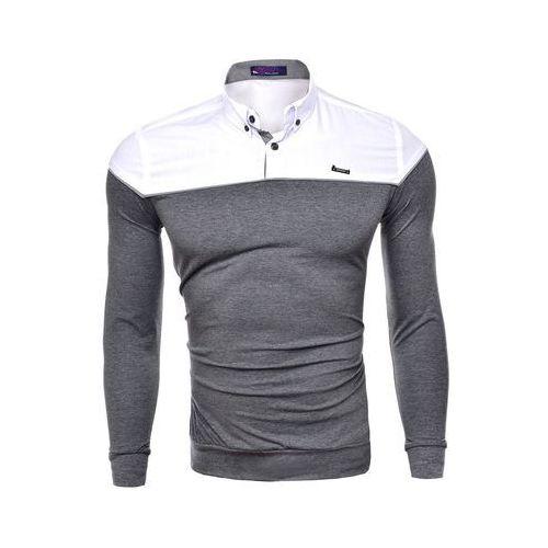 Koszula męska długi rękaw rl02 - antracytowy, KOSZULA (RL02) - ANTRACYTOWY