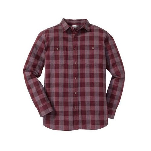 Koszula z długim rękawem, ze sztywniejszego materiału, Regular Fit bonprix bordowy w kratę, kolor wielokolorowy
