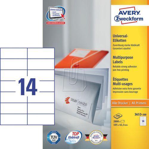 Etykiety uniwersalne Avery Zweckform trwałe 105 x 42,3mm 200 ark./op. 3653-200