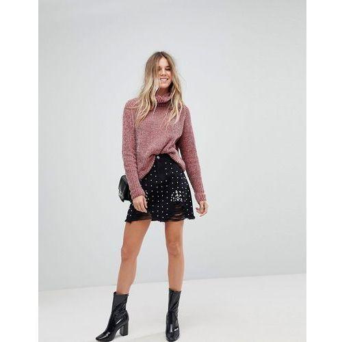 Boohoo Pearl Embellished Denim Mini Skirt - Black