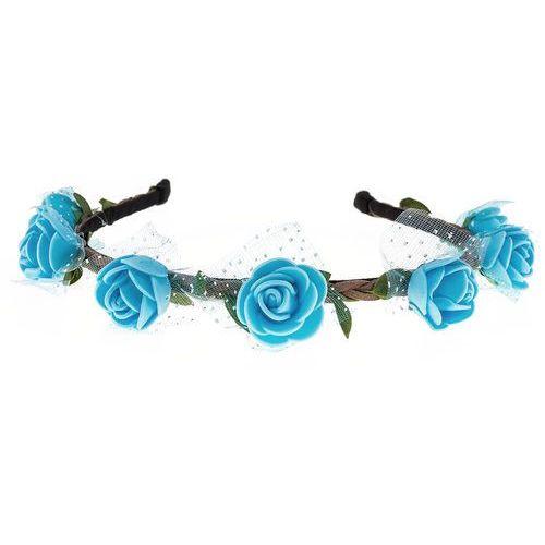 Opaska sztywna piankowe różyczki niebieska - NIEBIESKA