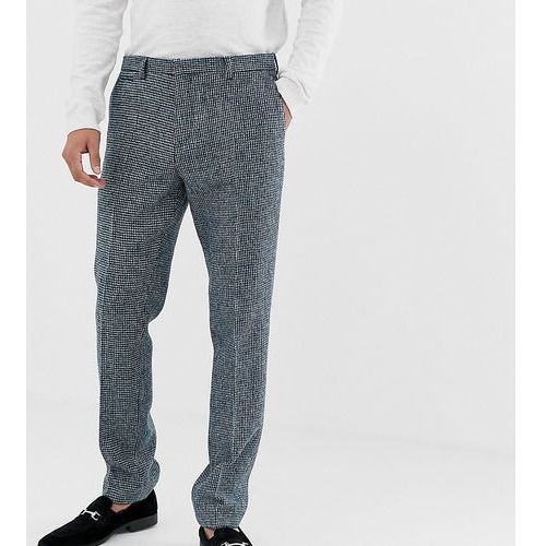 slim fit harris tweed suit trousers in blue - blue, Noak