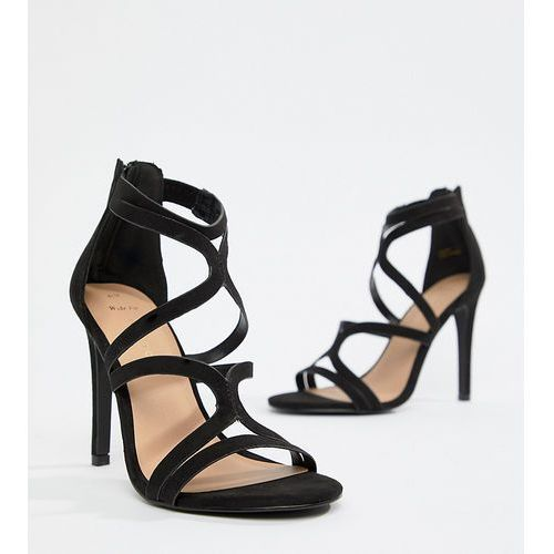 wide fit multi strap high heeled sandal - black, New look