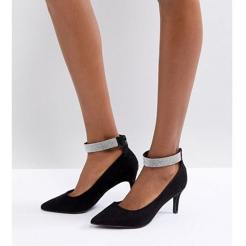 wide fit point gem ankle strap court - black, New look
