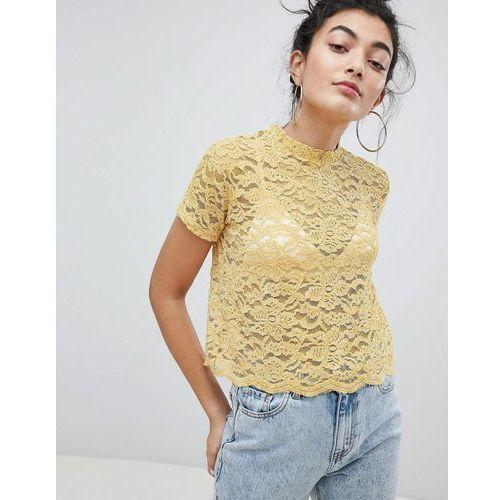Bershka lace print top in yellow - yellow