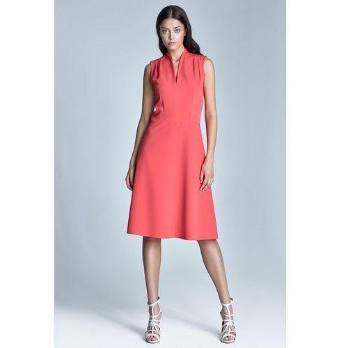 3752afdd9e Koralowa Elegancka Sukienka Midi z Dekol.