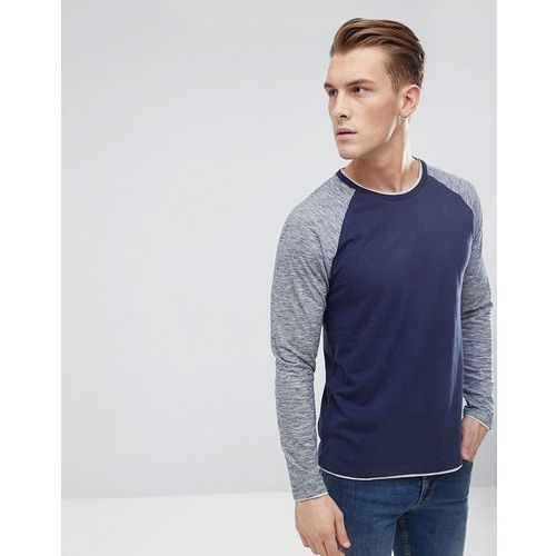Esprit Long Sleeve T-Shirt With Contrast Sleeves - Navy