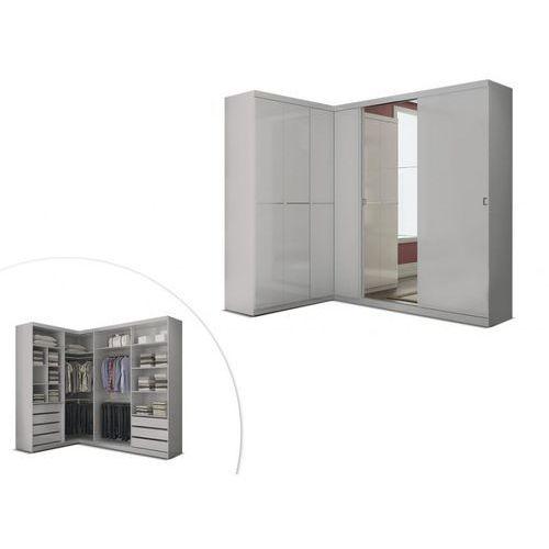 Szafa / Garderoba narożna OLOF z lustrem - 6 drzwi - Kolor: biały