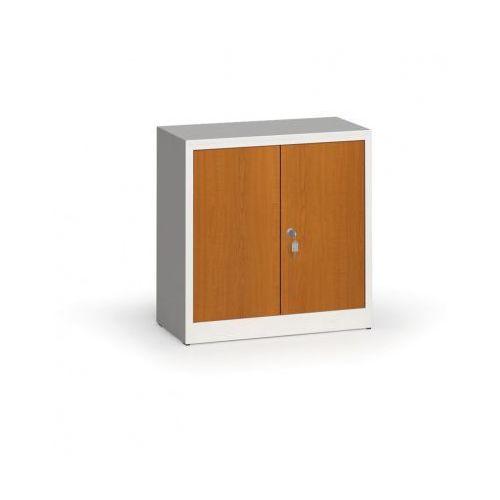 Szafy spawane z laminowanymi drzwiami, 800 x 800 x 400 mm, RAL 7035/czereśnia