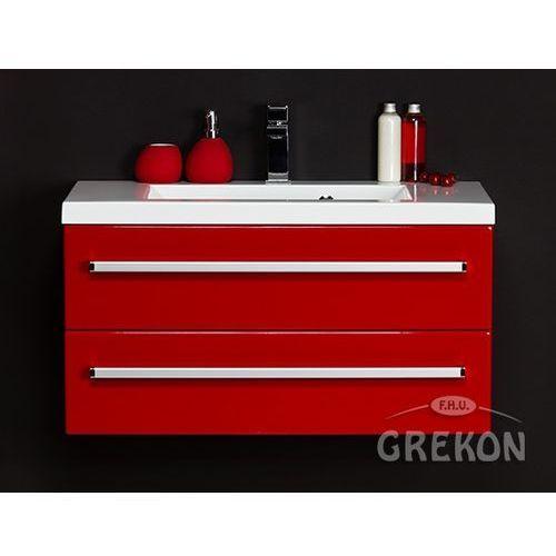 Czerwona szafka wisząca z umywalką 80/39/2 seria Fokus CZ