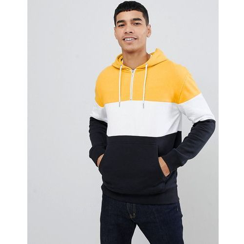 colour block hoodie with half zip in yellow - yellow marki New look