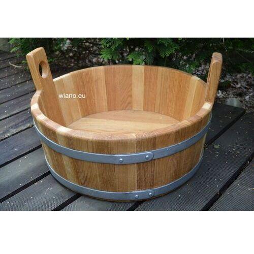 Naczynie drewniane - dzieża płaska z uszami do chleba lub pojemnik do ogrodu