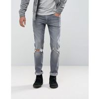 ASOS Stretch Slim Jeans In Vintage Grey Wash With Knee Rips And Hem Detail - Grey, jeans