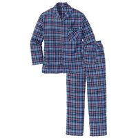 Piżama flanelowa bonprix niebieski w kratę, w 3 rozmiarach