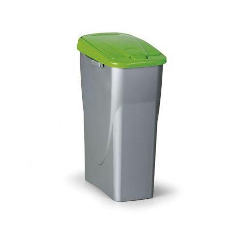 Kosz na odpadki (sz x gł x wys): 25 x 42x 62cm, 40l, zielone wieko, kolor srebrny