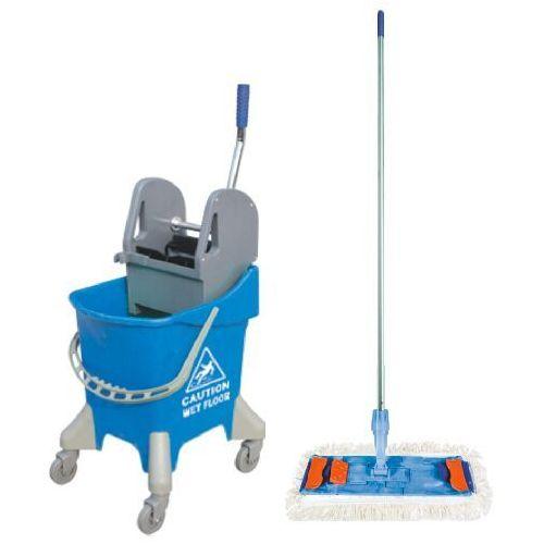 Clean Wiaderko na kółkach 31 l z wyciskarką do mopów i mopem płaskim 40 cm wózek do sprzątania, wózki do sprzątania, splast