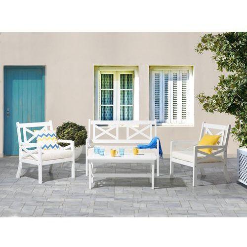 Beliani Krzesło ogrodowe drewniane białe poducha beżowa baltic (4260602373766)
