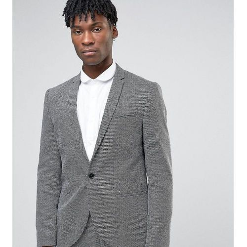 slim suit jacket in monochrome texture - black, Noak