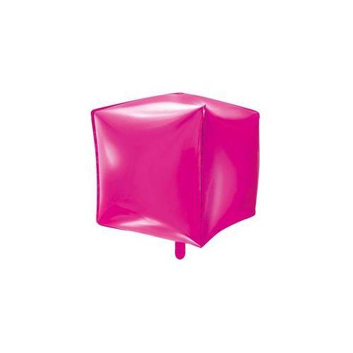 Balon foliowy sześcian ciemny różowy - 35 cm - 1 szt. marki Party deco