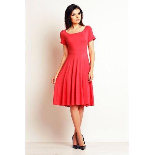 Koralowa Powiewna Midi Sukienka z Krótkim Rękawem, w 4 rozmiarach