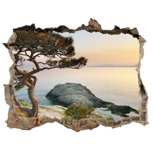 Dziura 3d w ścianie naklejka Drzewo nad morzem