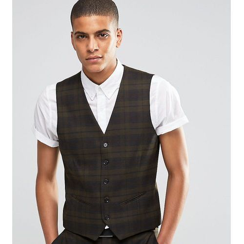 suit waistcoat with check in skinny fit with stretch - green, Selected homme