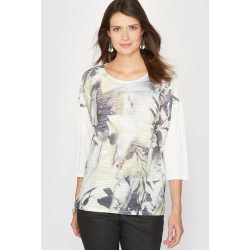 Koszulka z dwóch rodzajów materiału z nadrukiem, t-shirt damski ANNE WEYBURN