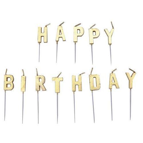 Zestaw świeczek na pikerach happy birthday złote - 1 kpl. marki Amscan