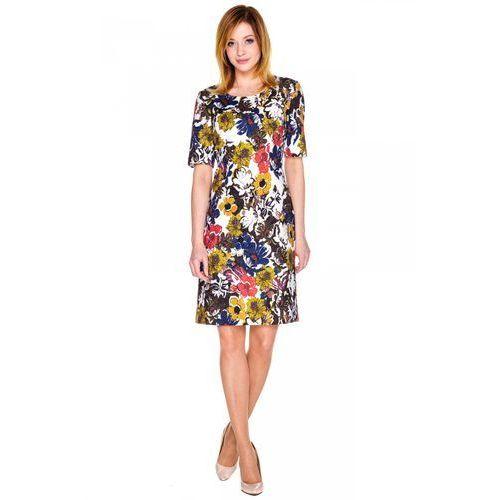 Sukienka w duże kolorowe kwiaty - Bialcon, niebieski, 1 rozmiar