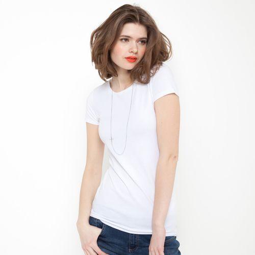 T-shirt z krótkim rękawem i okrągłym dekoltem, bawełna ze streczem