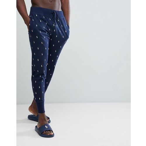 Polo ralph lauren all over player print lightweight cuffed joggers in navy - navy