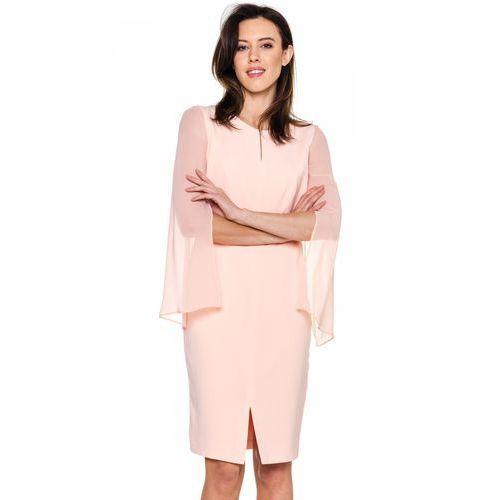 Łososiowa sukienka z szyfonowymi rękawami - Vito Vergelis