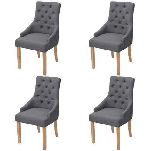 Dębowe krzesła do jadalni, tapicerowane tkaniną, szare, 4 szt., kolor szary
