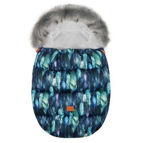 """Śpiworek do wózka z futerkiem do wózka spacerowego zimowy """"Eskimo Blue Feather"""" (5902211627708)"""