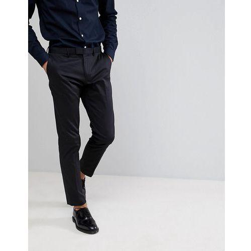 Burton Menswear Skinny Smart Trousers In Black Sateen - Black, kolor czarny