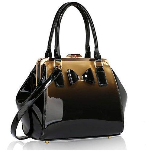 Złoty cieniowany kuferek lakierowany - czarny ||złoty marki Wielka brytania