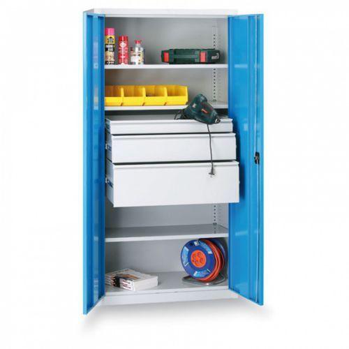 B2b partner Metalowa szafa warsztatowa, 1950x950x500 mm, 2 półki, 10 szuflad