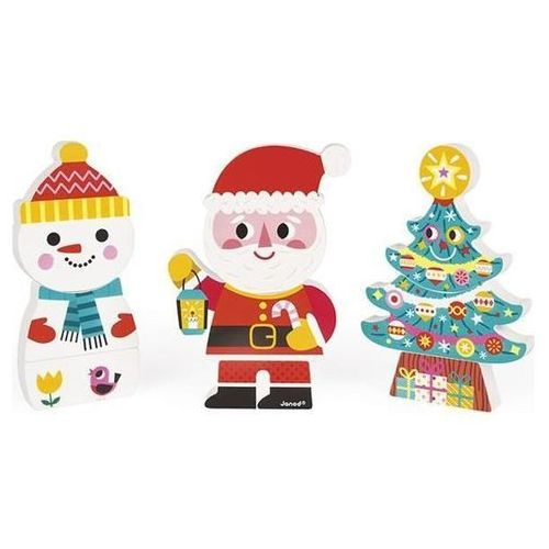 JANOD Magnetyczne klocki 3D Święty Mikołaj i przyjaciele, towar z kategorii: Puzzle