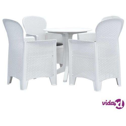 vidaXL 5-częściowy zestaw mebli ogrodowych, plastikowy, biały