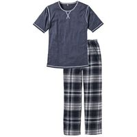 Bonprix Piżama niebieski melanż w kratę